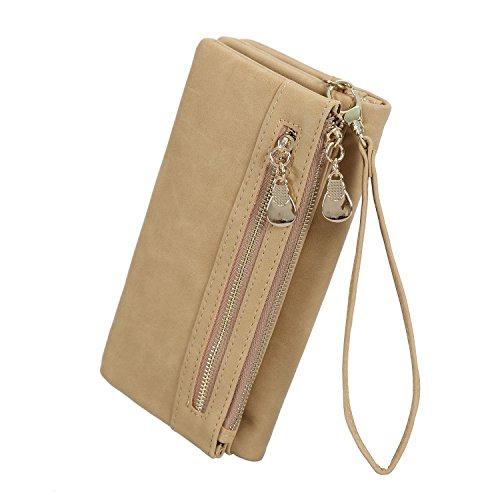 - SCIEN Women's Leather Clutch Wallet Purses with Wrist Strap Long Bifold Card Holder, Beige