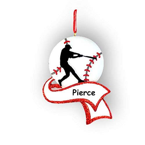 Personalized Baseball Player Christmas Ornament - Silhouette Sports Ball Holiday Tree Decoration - Custom Name