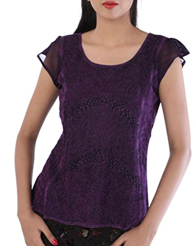 SNS Embroidered Rayon Short Sleeves Top/Blouse