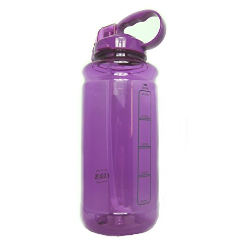 GHP 101oz 3000ml Large Outdoor Water Bottle w/Handle & Straw - BPA Free Tritan Plastic - Leak Proof Push Button Lid - Eco-Friendly for Gym, Yoga, Camping, Running, Cycling, and ()