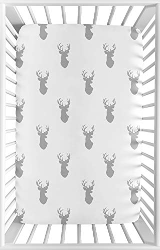 Sweet JoJo Designs Grey Stag Baby Boy Fitted Mini Portable Crib Sheet for Woodland Deer Collection - for Mini Crib or Pack and Play ONLY