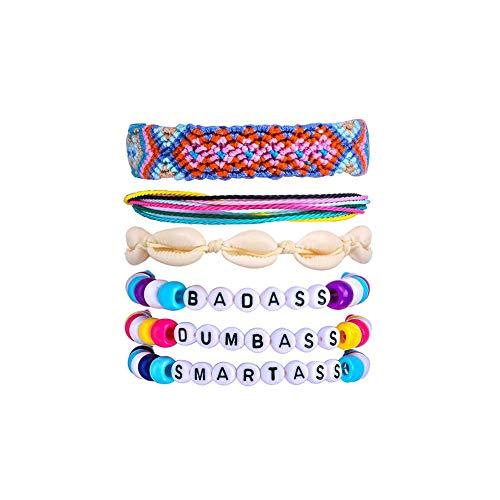 PrePiece VscoBracelets Natural Shell Bracelet for Girls Waterproof FriendshipPonybead Bracelets Set 6pcs
