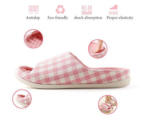 Schlupfhalsband Hausschuhe rutschfeste Sandale Offenen Zehen Baumwolle & Leinen Pantoletten Feuchtigkeitstransport Flachs Schuhe für Erwachsene rose