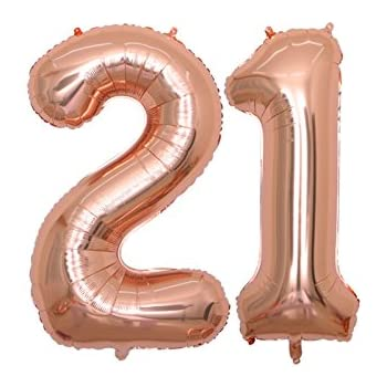 BALONAR 40 Inch Jumbo 21st Rose Gold Foil Balloons For Birthday Party SuppliesAnniversary Events Decorations And Graduation ROSE21
