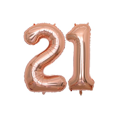 BALONAR 40 inch Jumbo 21 Rose Gold Foil Balloons for 21st Birthday Party Supplies,Anniversary Events Decorations and Graduation Decorations (ROSE21)