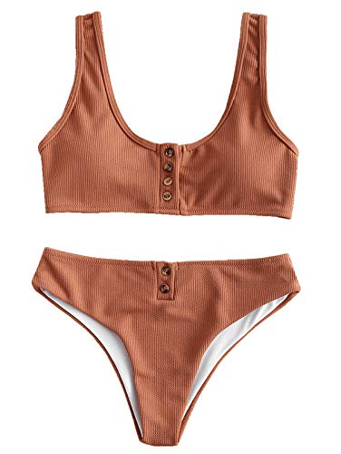 ZAFUL Women's Scoop Neck Ribbed Padded Button up Two Piece Bikini Set Light Brown