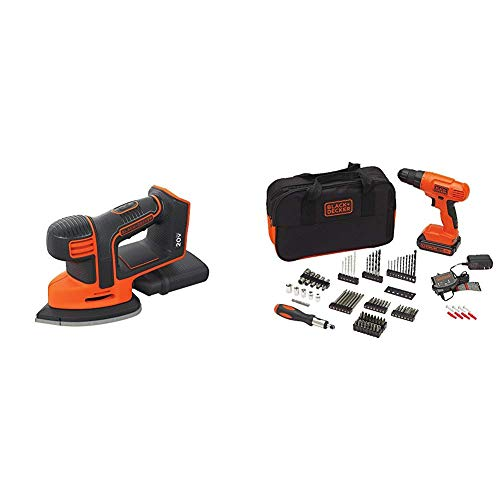 BLACK DECKER BDCMS20B 20V Cordless Mouse Sander, Baretool with BLACK DECKER BDC120VA100 Cordless Project Kit with 100 Accessories