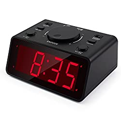 "iTronics LED Digital Alarm Clocks for Bedroom/Heavy Sleepers with 1.2"" Display 3 Adjustable Brightness, Battery Operated Electronic Dual Alarm Clocks with Snooze"