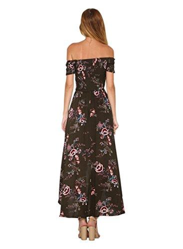 Dress Shoulder The Off Siyinfushi Maxi junlv Sexy 006 Print Women Floral Summer Xwxqf7n4xz