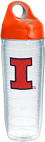 Tervis 1231344 Illinois Fighting Illini Logo Insulated Tumbler with Emblem and Orange Lid, 24oz Water Bottle, -