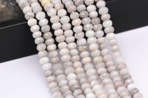(Bead Jewelry Making Faceted White Agate Gemstone Rondelle Loose Beads 5x8mm Approx 15