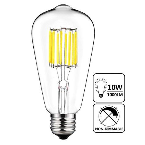 GEZEE 10W Edison Style Vintage LED Filament Light Bulb,100W Incandescent Replacement,Daylight White 6000K,1000LM, E26 Medium Base Lamp,CRI 80+,ST21(ST64) Antique Shape, Non-dimmable - Clear Medium Aluminum Base
