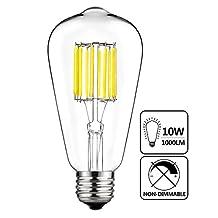 GeZee 10W Edison Style Vintage LED Filament Light Bulb,100W Incandescent Replacement,Daylight White 6000K,1000LM, E26 Medium Base Lamp, ST21(ST64) Antique Shape, Non-dimmable