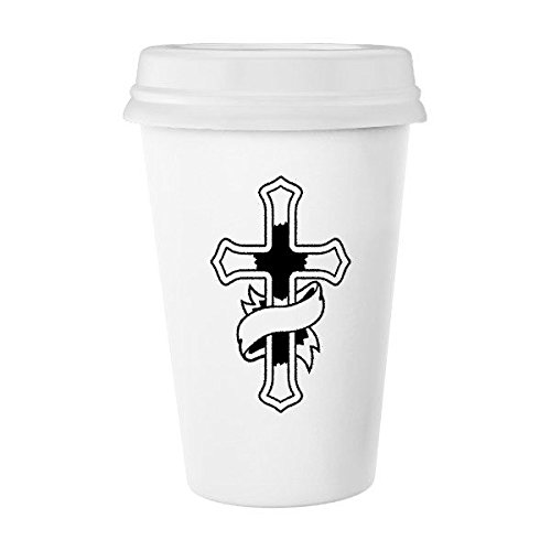 Religion Christianity Church Belief Black Holy Cross Banner Culture Design Art Illustration Pattern Classic Mug White Pottery Ceramic Cup Milk Coffee Cup 350 ml by DIYthinker
