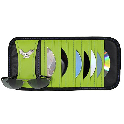Vulcan-x CD DVD Sun Visor Organizer Holder Car Detachable PU Auto Multi-Purpose Bag for Sunglasses Eagle Badge vehicle-mounted 10 CD DVD Case-Green (Case Cd Visor)