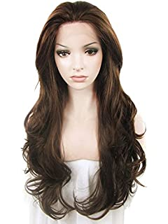 Kryssma long straight brown synthetic hair wig with honey blonde imstyle haifa wehbe wig natural brown color long loose wavy texture synthetic lace front wig curly pmusecretfo Choice Image