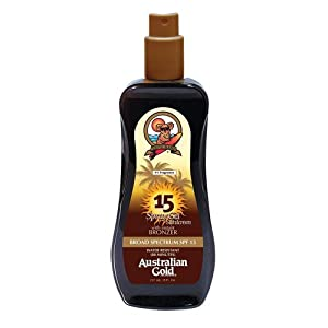 Australian Gold SPF 15 Spray Gel Sunscreen with Instant Bronzer, 8 Fl Oz