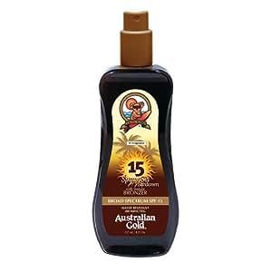 Australian Gold SPF 15 Spray Gel Sunscreen with Instant Bronzer, 8 Fl Oz