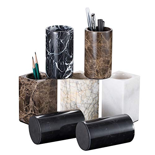 Top All Nature Marble Pen Holder with Polished Surface by Hand Craft, Round Dark Emperador