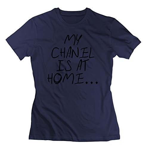 Women T-shirt My Chanel Is At Home Printed For Round-collar Short Sleeve T-shirt-navy Xx-large (Tee Woman Chanel)