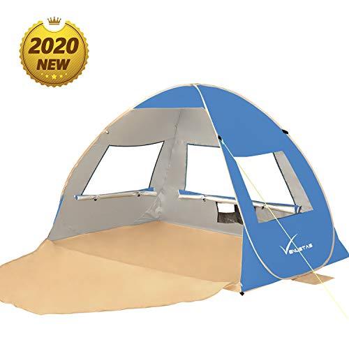 🥇 Large Pop Up Beach Tent Beach Umbrella Automatic Sun Shelter Cabana Easy Set Up Light Weight Beach Canopy 3-4 Person Anti-UV Portable Sunshade Beach Shade