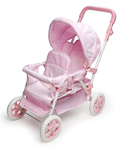 Double Stroller For Dolls (Badger Basket Folding Double Front-to-Back Doll Stroller (fits American Girl Dolls),)