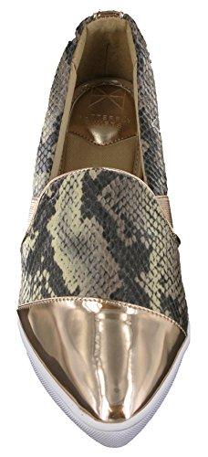 Womens Ballet Fashion Shoes Sienna Flat Snake Snake On Slip Mink Butterfly Pumps Twists vOzqtt