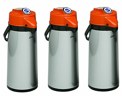 Wilbur Curtis Thermal Dispenser Air Pot, 2.2L S.S. Body Glass Liner Lever Pump, Decaf - Commercial Airpot Pourpot Beverage Dispenser - TLXA2201G000D (Each) (3-Pack)