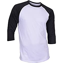 DREAM USA Men's Casual 3/4 Sleeve Baseball Tshirt Raglan Jersey Shirt White/C Gray Large
