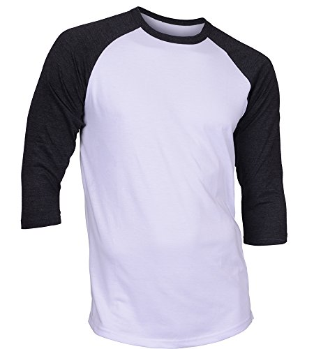 - DREAM USA Men's Casual 3/4 Sleeve Baseball Tshirt Raglan Jersey Shirt White/C Gray Large