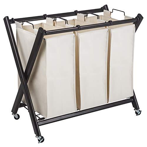 Laundry Deluxe Sorter - GreenWay Deluxe Steel Triple Laundry Sorter