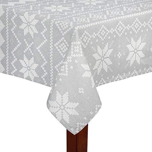 """Nantucket Home Country Holiday Shimmer Gray Snowflake Winter Christmas Jacquard Cotton Fabric Tablecloth (60"""" x 84"""" Rectangle/Oblong)"""