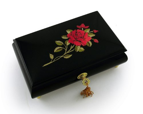 Enchanting Black Lacquer Single Red Rose with Gold Hardware Music Jewelry Box - Heaven is in Blue Hawaii (Paul Koy) - SWISS by MusicBoxAttic