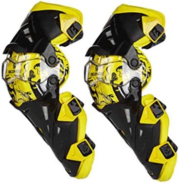 LilyAngel 膝パッド、調整可能なロングレッグスリーブギアクラッシュプルーフアンチスリップオートバイマウンテンバイク1ペアのための保護警備員 (Color : イエロー)