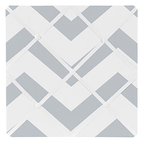 Sweet Jojo Designs Gray and White Chevron Zig Zag Fabric Memory/Memo Photo Bulletin Board ()