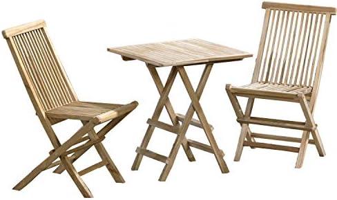 CHICREAT - Conjunto de asientos de jardín de tres piezas de madera de teca, silla plegable y mesa plegable cuadrada de aproximadamente 40 x 60 cm: Amazon.es: Jardín