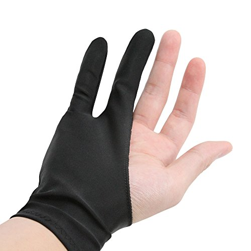 Price comparison product image Art finger glove POMEX for Drawing Tablets Anti-fouling Lycra Glove Artist drawing glove for Graphics Tablet Left or Right Hand Free size Black