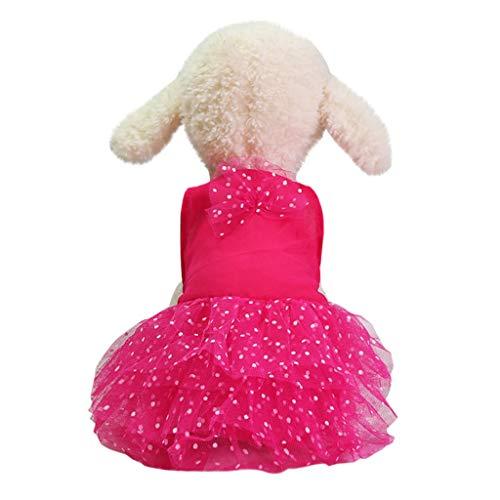vmree Summer Dog Girl Bottoming Polka Dot Print Harness Dress Bowknot Lace Princess Clothes Pet Cat Sundress Costumes