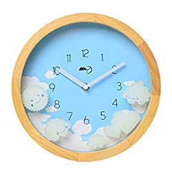 Maytime Christmas Gift Indoor Wooden Frame Simple Modern Silent Sweep Movement Wall Clock 10 Inch