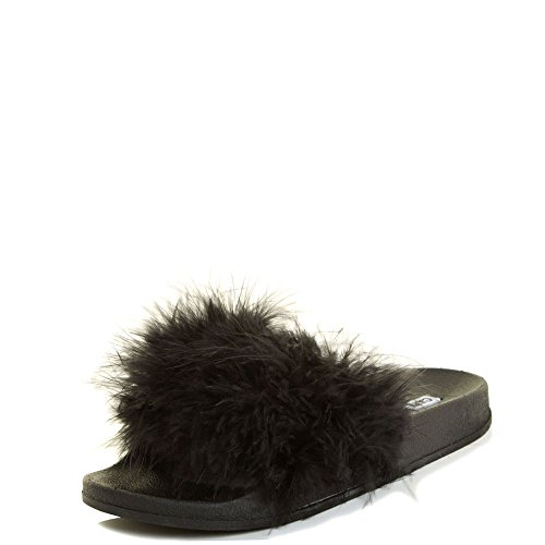 Marabou Feather Fur (Cape Robbin Women Open Toe Flip Flop Marabou Fur Slide Slip On Flats Sandals Shoe Slipper 7 Black)