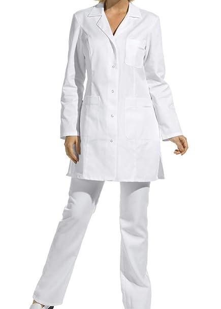 Bata corta de señora, manga larga, blanco (38)