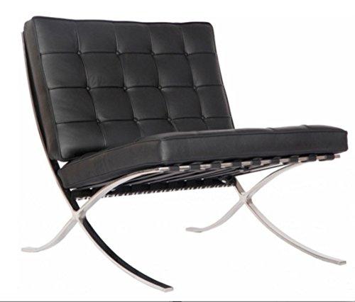 (Barcelona Modern Full Grain Italian Leather Chair, Black (Black))
