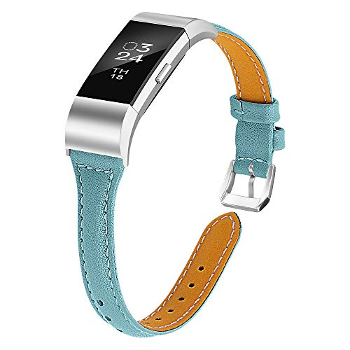Joyozy Leather Band Compatible with Fitbit Charge 2 Replacement Bands,Slim Classic Genuine Leather Wristband Fitness Strap Women(Smoky Blue with Silver Buckle)