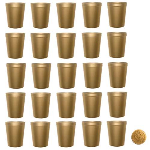 Metallic Gold Stadium Cups, Pack of 25, Blank 16 oz Plastic -
