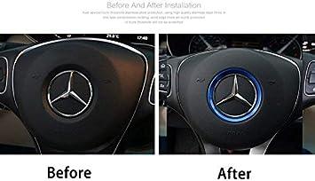DEMILLO Sports Aluminum Steering Wheel Center Decoration Cover Trim for Mercedes B C E CLA GLA GLC GLK Class red, 2.3 Inner Ring Size