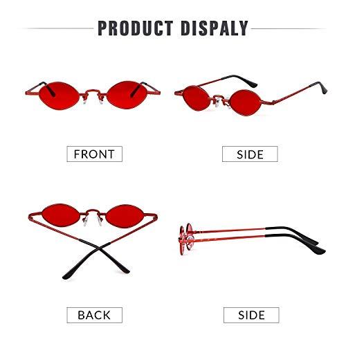 Retro Vintage ovales hommes Cadre Ovale Lentille Rouge 1 Glasses Petites Rouge ADEWU lunettes soleil femmes de wqxXYIz