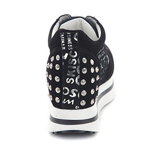 Womens Platform Fashion Sneaker Increased Height Rivet Lace Up Casual Sport Shoes Silver aYGRypmQ