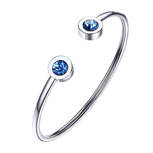 (PROSTEEL December Birthstone Zircon Cuff Bracelet Stainless Steel Blue Crystal Bangle Bridesmaid Girls Women Jewelry Birthday)