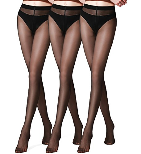 Sexy Reinforced T Crotch Hosiery Sheer Pantyhose Tights 3 Pack of HONENNA (Medium, Black) (Hosiery Sexy)