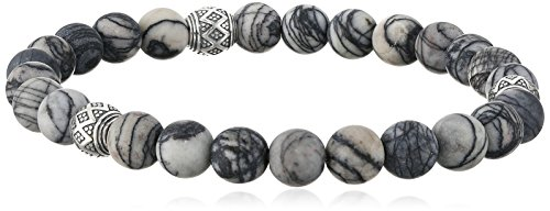 Silver Jasper Picasso Sterling (Men's Genuine Black Picasso Jasper with Oxidized Sterling Silver Accent Bead Stretch Bracelet, 7.5